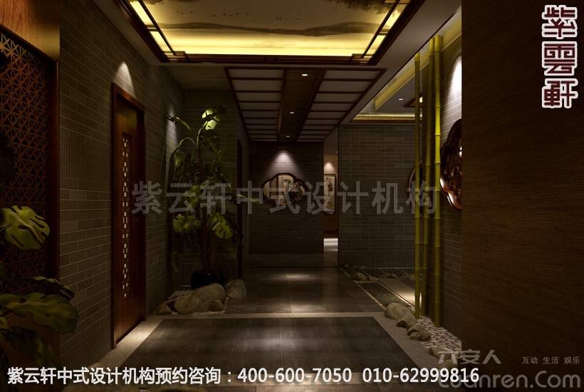 石、影壁浮雕、仿古吊灯宁静优雅 简约中式装修足浴店面一楼副厅利