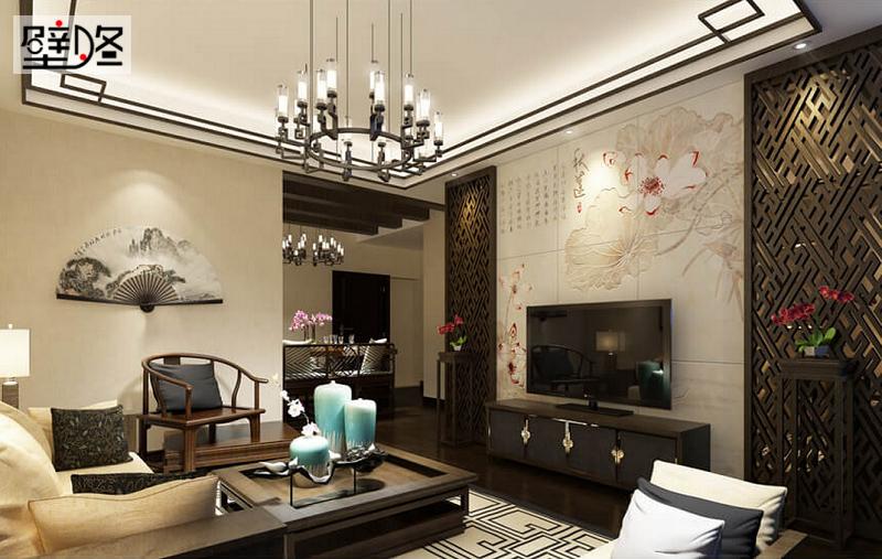 2016最新新中式客厅电视背景墙装修设计效果图,美到窒息